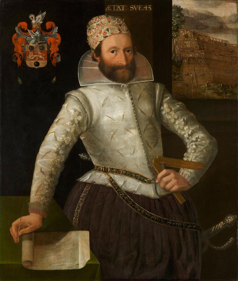 Portrait of Phineas Pett, bearded, left hand on his hip holding a measuring device, right hand holding a scroll of paper