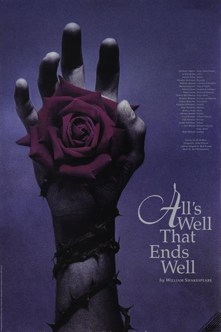 Poster for All's Well That Ends Well, showing a hand holding a rose with thorns around the arm