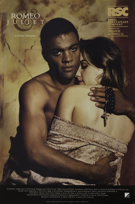 1998 poster for Romeo and Juliet, showing the lovers embracing and Romeo holding rosary beads