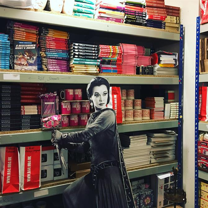 cardboard cutout of Vivien Leigh in front of shop stock