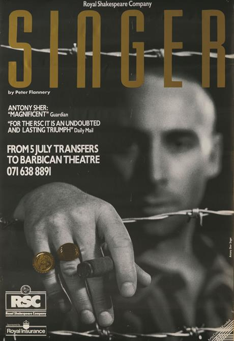 Poster for Singer, showing a face in the background and a hand with rings holding a cigar