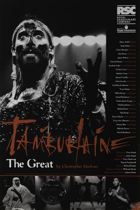 Black and white Tamburlaine poster with Tamburlaine in costume, his right hand raised