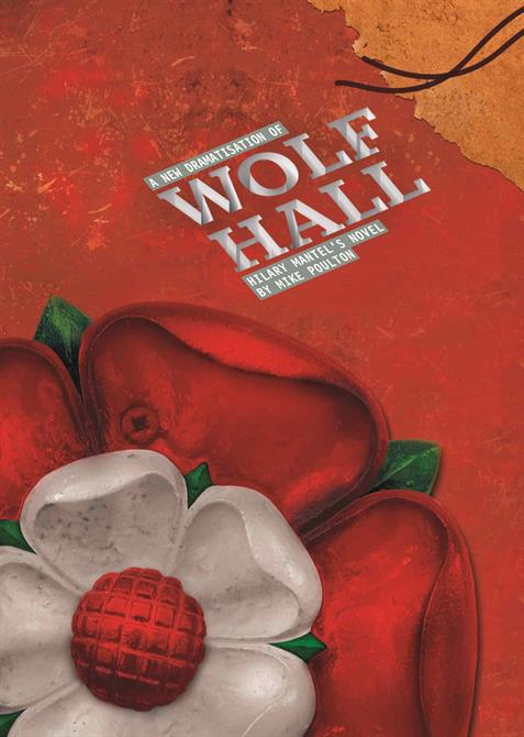 Programme cover for Wolf Hall, showing a close-up of a Tudor Rose with a bright red background