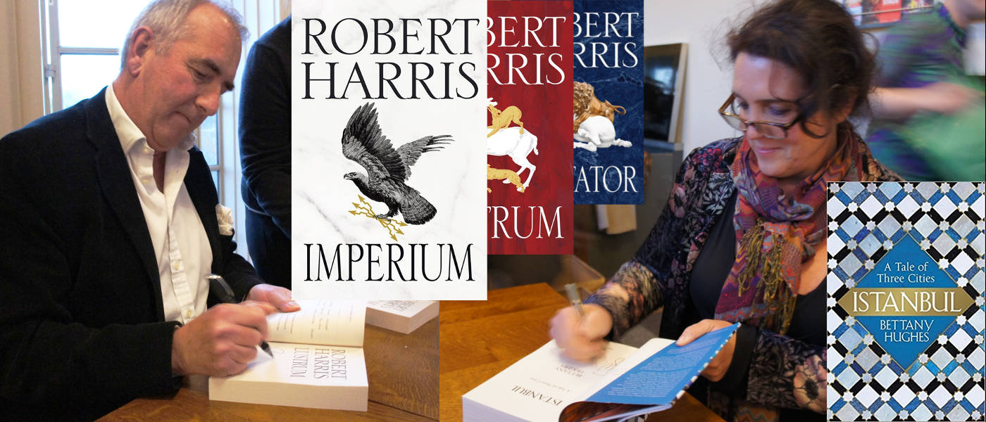 Robert Harris and Bettany Hughes signing books