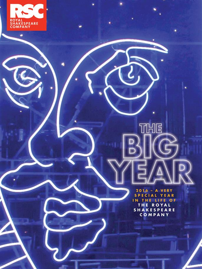The cover of The Big Year in dark blue with Shakespeare's face picked out in white lines