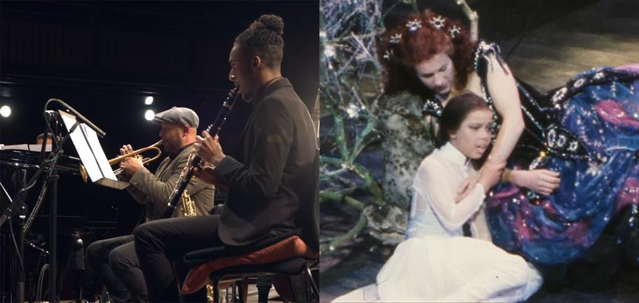 Chris Storr on trumpet in 2021, and in A Midsummer Night's Dream in 1981.