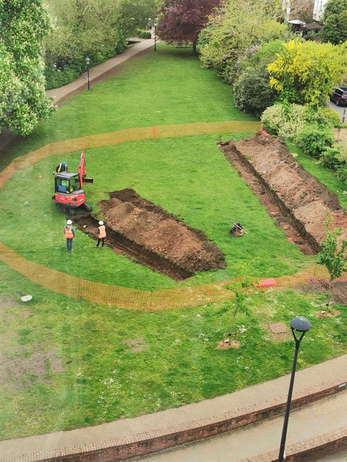 A digger working in the Swan Gardens.