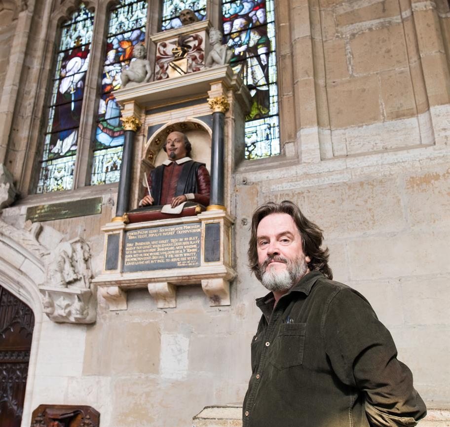 Gregory Doran in Holy Trinity Church with the Shakespeare memorial