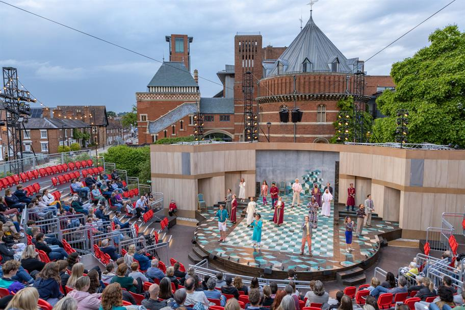 Actors on stage in the Garden Theatre.