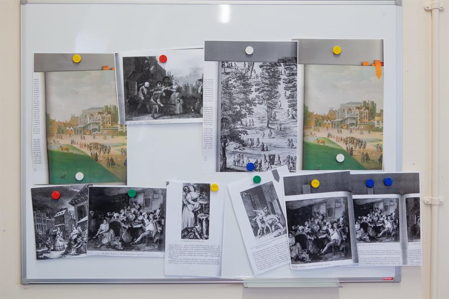 Ayse's image board for The Provoked Wife, showing photocopies of old paintings and drawings.
