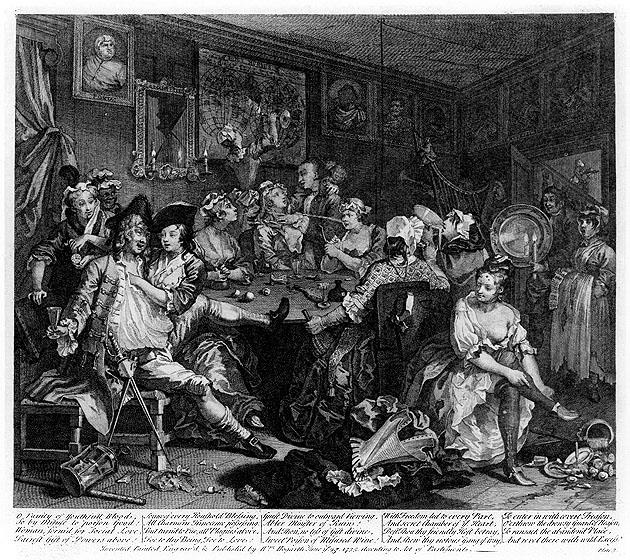 The Tavern Scene by William Hogarth, showing revellers drinking and dancing.