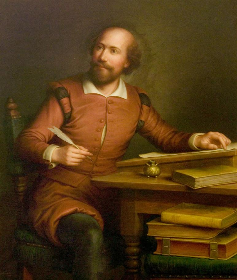 Shakespeare seated at a table with a quill and a pile of books