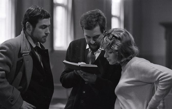 Love's Labour's Lost, 1965: John Barton in rehearsal with Charles Thomas and Janet Suzman.