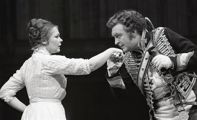 Much Ado About Nothing, 1976, directed by John Barton: Judi Dench as Beatrice and Donald Sinden as Benedick.