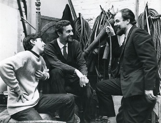 Trevor Nunn, John Barton and John Bury backstage in 1965.