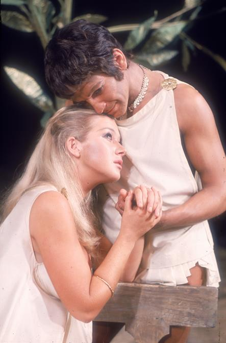 Troilus and Cressida, 1968, directed by John Barton: Helen Mirren as Cressida and Michael Williams as Troilus.