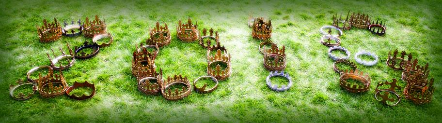 Different types of crowns making out the numbers 2016 on the grass