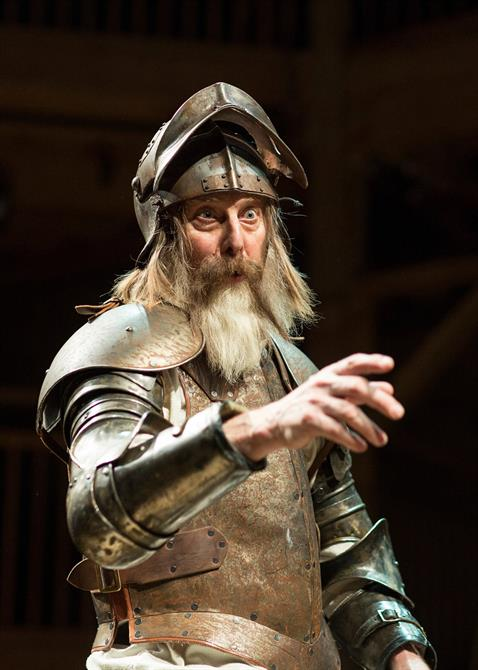 David Threlfall as Don Quixote, wearing rusted silver armour