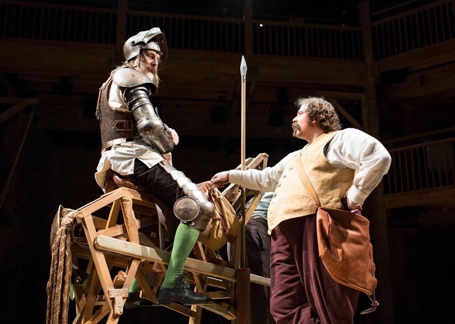 David Threlfall sits on his wooden horse next to Rufus Hound