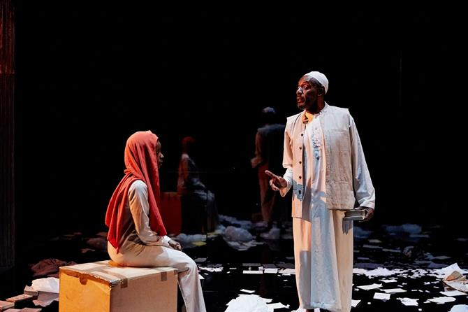 Donna Banya as Amna and Tyrone Huggins as Farouk in Always Orange
