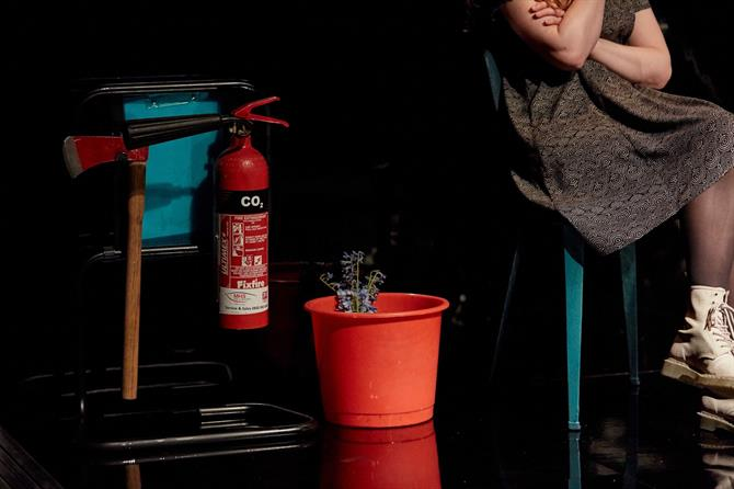 an axe, a fire extinguisher and a bucket with flowers in it on the floor next to a woman sitting on a chair