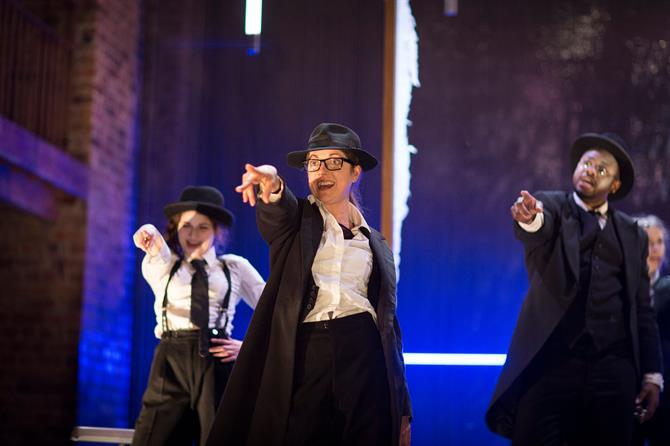 Bathsheba Piepe, Ruth Everett and Gabriel Fleary as Scholars in Doctor Faustus