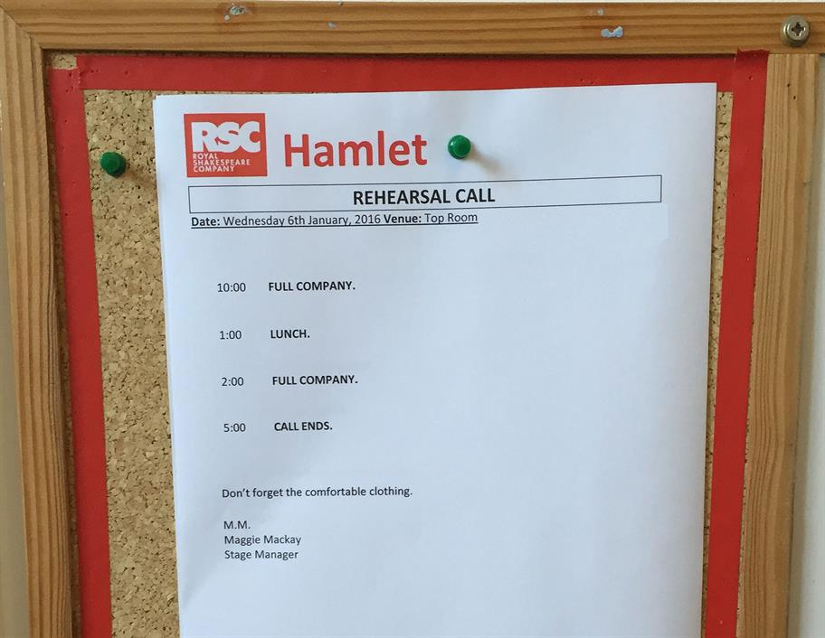 Rehearsal call sheet pinned to a notice board