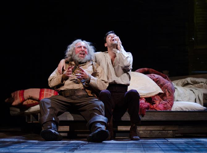 Antony Sher as Falstaff and Alex Hassell as Prince Hal in Henry IV Part I.