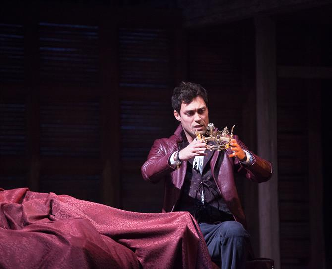 Alex Hassell as Prince Hal in Henry IV Part II.