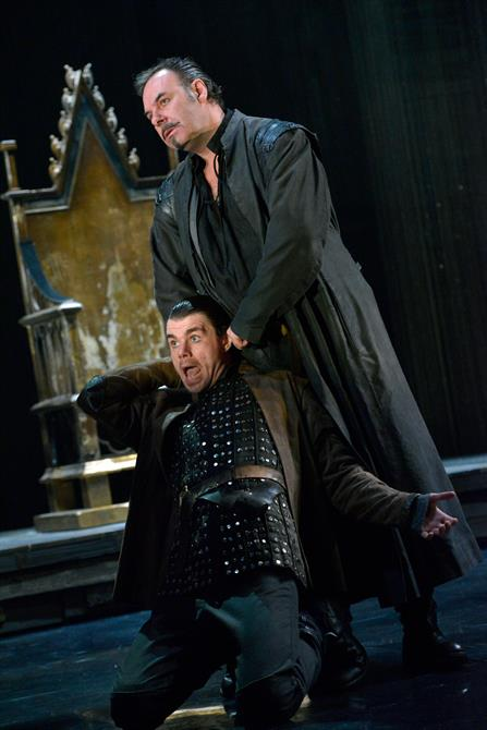 Sean Chapman as Northumberland and Matthew Needham as Hotspur in Henry IV Part I.