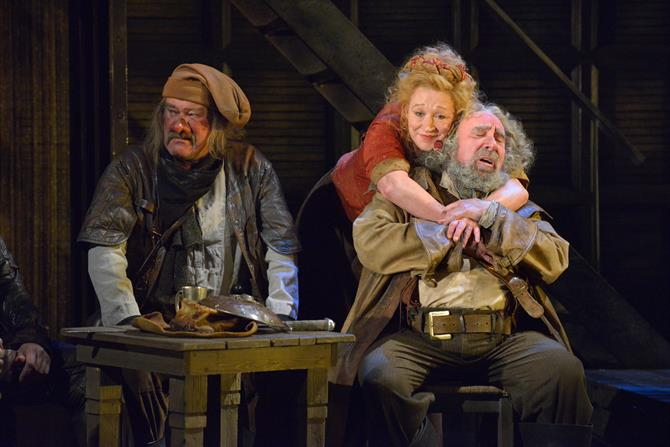 Joshua Richards as Bardolph, Sarah Parks as Mistress Quickly and Antony Sher as Falstaff in Henry IV Part I.