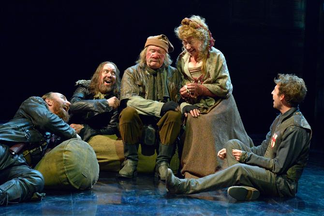 Antony Byrne as Pistol, Christopher Middleton as Nym, Joshua Richards as Bardolph, Sarah Parks as Mistress Quickly and Martin Bassindale as the Boy in Henry V