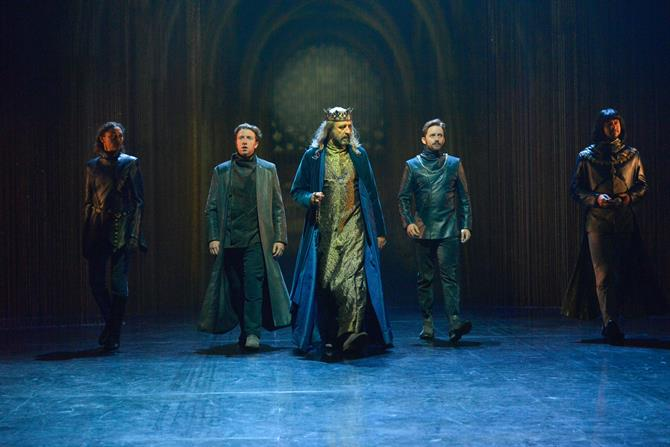 Evelyn Miller as Rambures, Nicholas Gerard-Martin as Orleans, Simon Thorp as King of France, Sam Marks as Constable of France and Rob Gilbert as Dauphin in Henry V