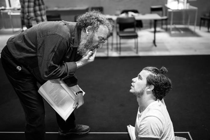 Antony Sher and Oliver Johnstone having a discussion during rehearsals