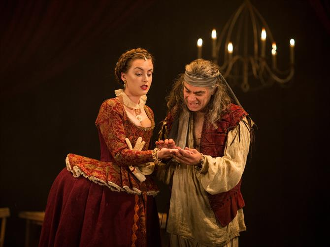 Rosa Robson as Dame Pliant and Mark Lockyer as Subtle in The Alchemist