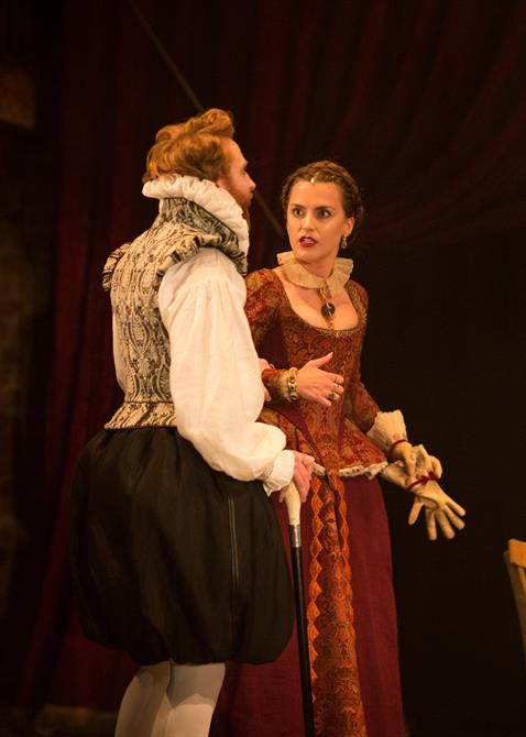 Tom McCall as Kastril and Rosa Robson as Dame Pliant in The Alchemist