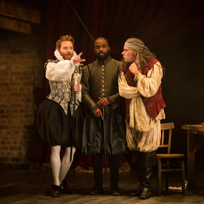 the alchemist royal shakespeare company tom mccall as kastril ken nwosu as face and mark lockyer as subtle in the