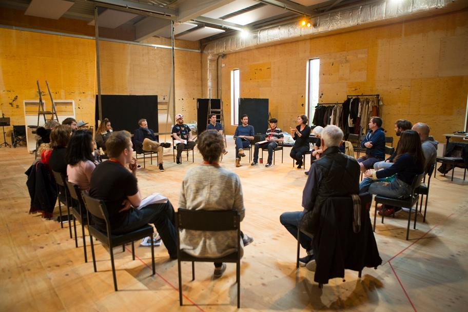 The Seven Acts of Mercy cast sit in a circle in an RSC rehearsal room