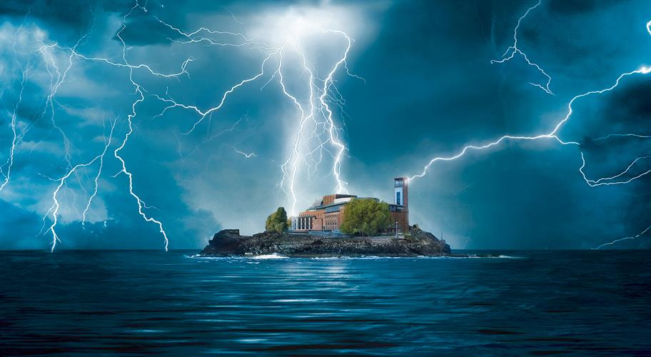 Royal Shakespeare Theatre on a small island in the middle of the sea, surrounded by lightening bolts