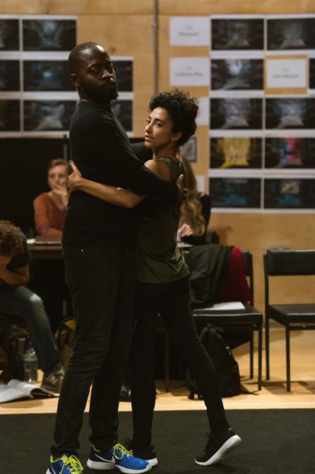 Joe Shire and Sarah Kameela Impey in rehearsal