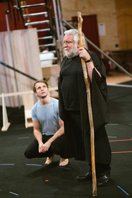 Mark Quartley and Simon Russell Beale in rehearsal for The Tempest