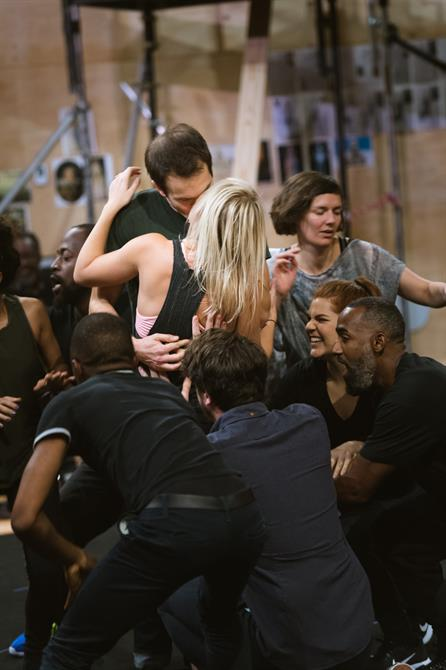 The Company of The Tempest in rehearsal