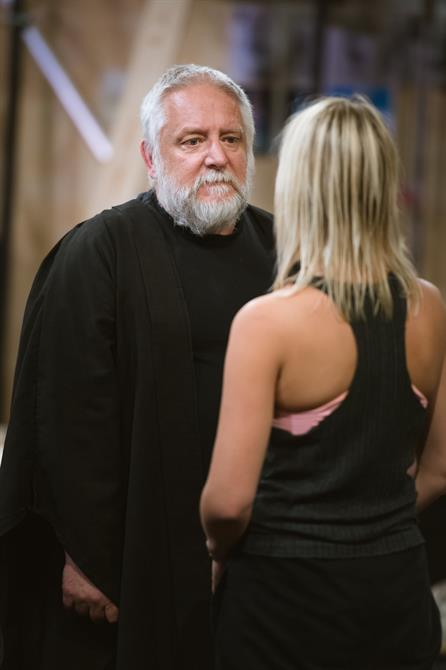 Simon Russell Beale and Jenny Rainsford in rehearsal for The Tempest