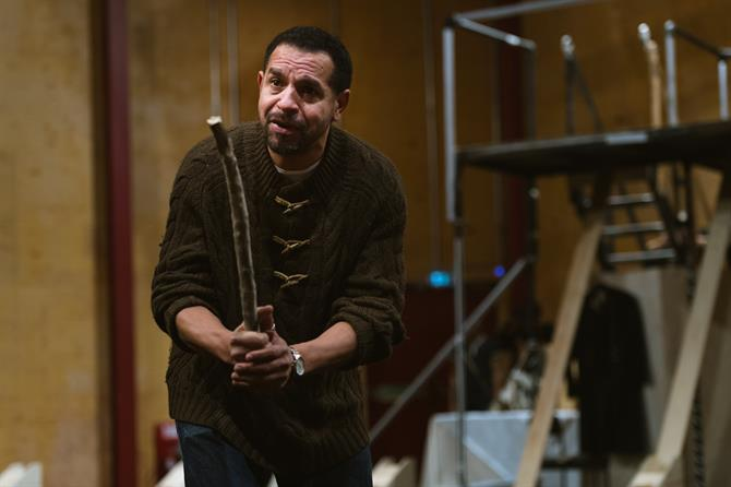 Joe Dixon in rehearsal for The Tempest