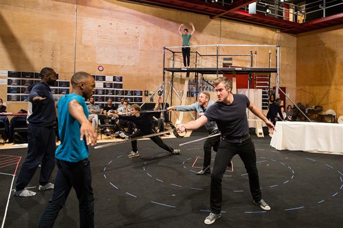 The Company in rehearsal for The Tempest