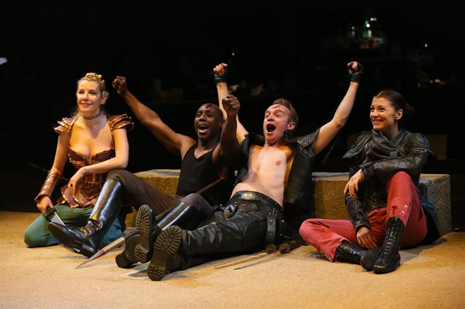 Allison McKenzie as Hippolyta, Chris Jack as Pirithous, Gyuri Sarossy as Theseus and Frances McNamee as Emilia sat down cheering