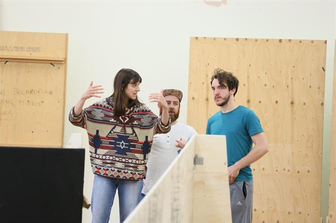 Blanche McIntyre, Joe Allen and Jamie Wilkes in rehearsal for The Two Noble Kinsmen