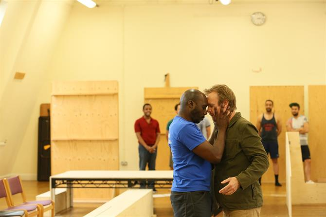 Chris Jack and Gyuri Sarossy in rehearsal for The Two Noble Kinsmen