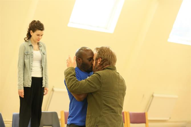 Emma Noakes, Chris Jack and Gyuri Sarossy in rehearsal for The Two Noble Kinsmen