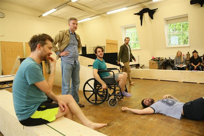 The Company in rehearsal for The Two Noble Kinsmen
